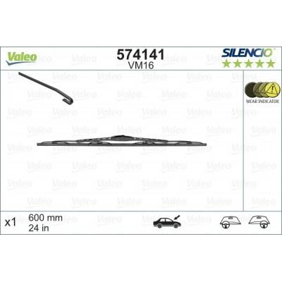 VALEO VM16 600MM X1 SILENCIO CONVENCIONAL - 574141 - BMW X5 (F15) (fitting hook) 11/13-