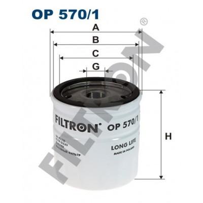 Filtro de Aceite Filtron OP570/1 Opel Astra G/H, Combo B, Corsa C, Meriva A, Signum, Tigra II, Vectra B/C, Zafira